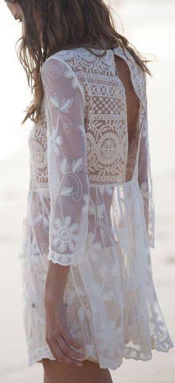 White Back Crochet Detail Blouse