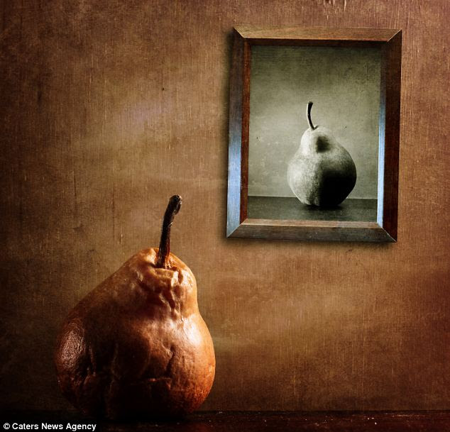 Past its ex-pear-y date: A wizened pear gazes at a black and white image of a youthful fruit