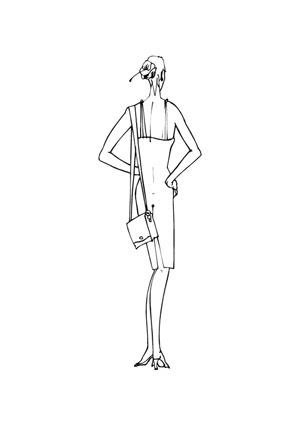 Ausmalbilder Topmodel von hinten - Models Malvorlagen