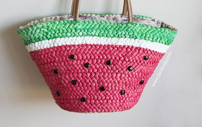 Арбузно-соломеная сумка на пляж (Diy)