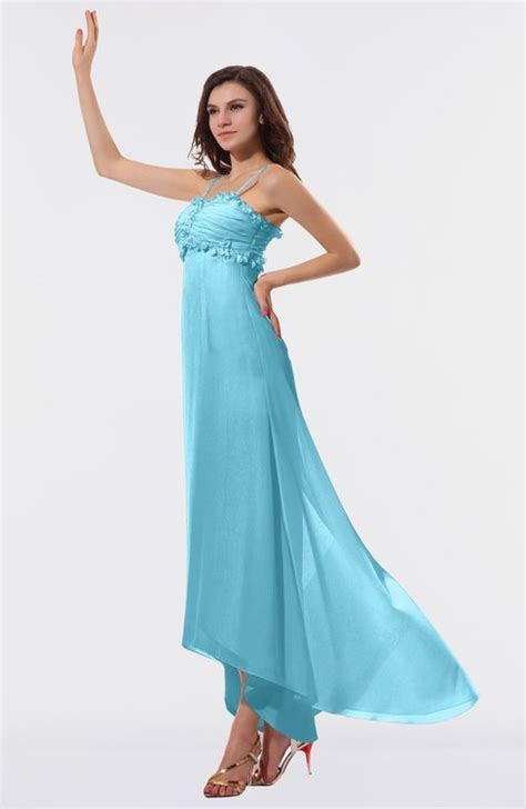 Light Blue Romantic Empire Chiffon Tea Length Ruffles