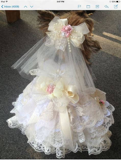 SHABBY IVORY LACE S DOG WEDDING DRESS W VEIL RING PILLOW