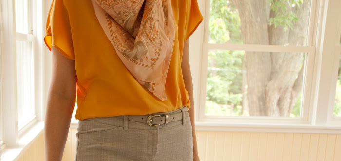 june29 dashdotdotty dash dot dotty fashion blog grellow gray yellow sunshine scarf belted wedges
