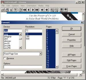 GSview - PDF to JPG, TIFF, BMP convert