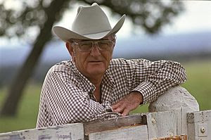English: Lyndon B. Johnson at his ranch in Sep...
