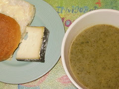 Nettle soup and Cornish Yarg