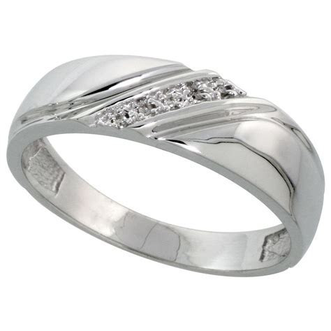 Sterling Silver Men's Diamond Wedding Band Rhodium finish