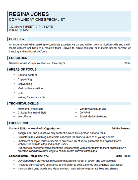 resume33 communications specialist