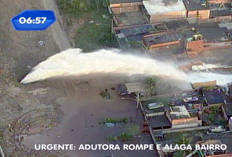 Uma adutora de água se rompeu na estrada do Mendanha, em Campo Grande,  zona oeste do Rio, na manhã desta terça-feira (30). Casas foram alagadas  e veículos arrastados pela força da água. De acordo com moradores, o nível de água dentro  dos imóveis passou de 1,5 metro. Leia mais