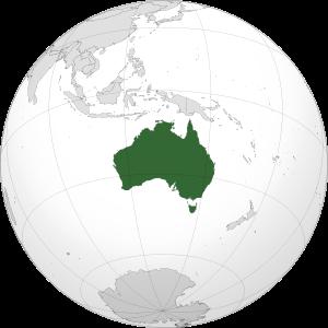 Orthographic map of Australia centere...