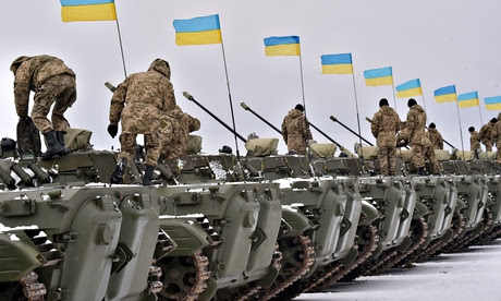 Ukrainian servicemen during a handing-over ceremony of military equipment by president Poroshenko