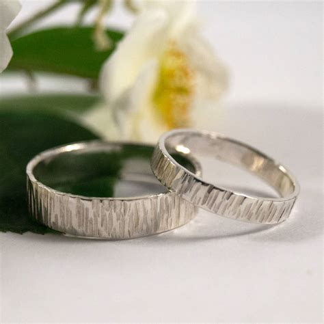 bark effect wedding bands in eco silver by fragment