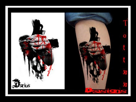 Picture 25 Of 28 From Black Red Stains Dots Tattoo Designs