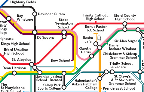 Detail from London Challenge Tube Map