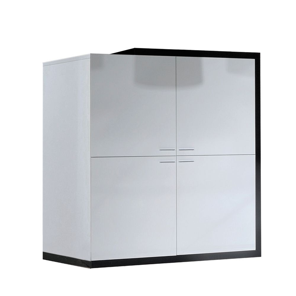 Wohnzimmerschrank Pina - Weiß/Schwarz Hochglanz - Vier ...