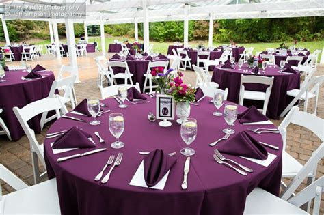 Eggplant table setting   Our Wedding   Pinterest   Tables