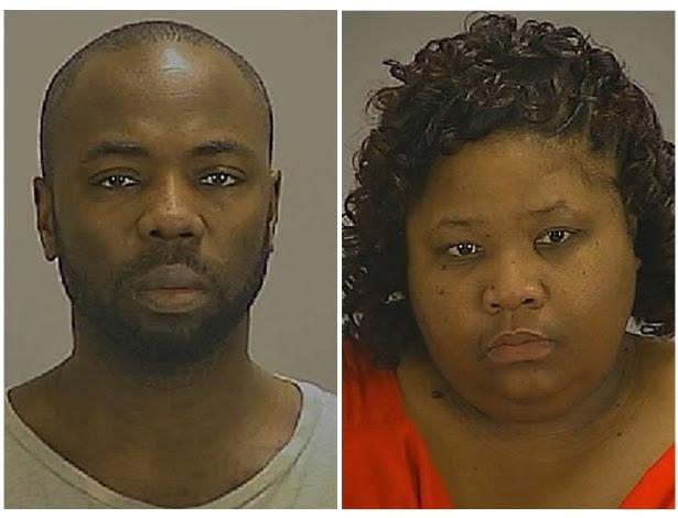 Gregory Jean e Samantha Joy Davis ao serem fichados no departamento de polícia de Clayton County sob a acusação dos sequestro e cárcere de um garoto de 13 anos na Geórgia (EUA)