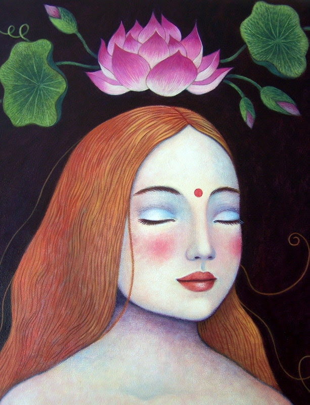Signed Limited Edition Print of Nahla in Meditation (detail)