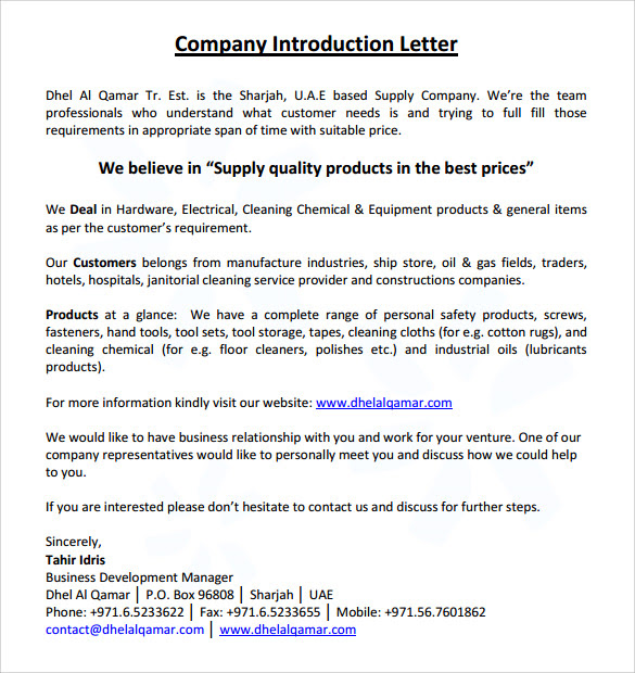 Company Introduction Letter Sample Pdf Templates Free Example