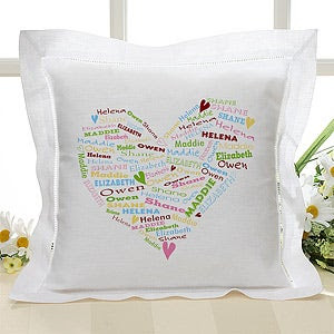 Personalized Linen Pillow Cover - Her Heart of Love