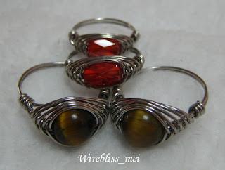 Herringbone weave rings with swarovski crystal and tiger eyes