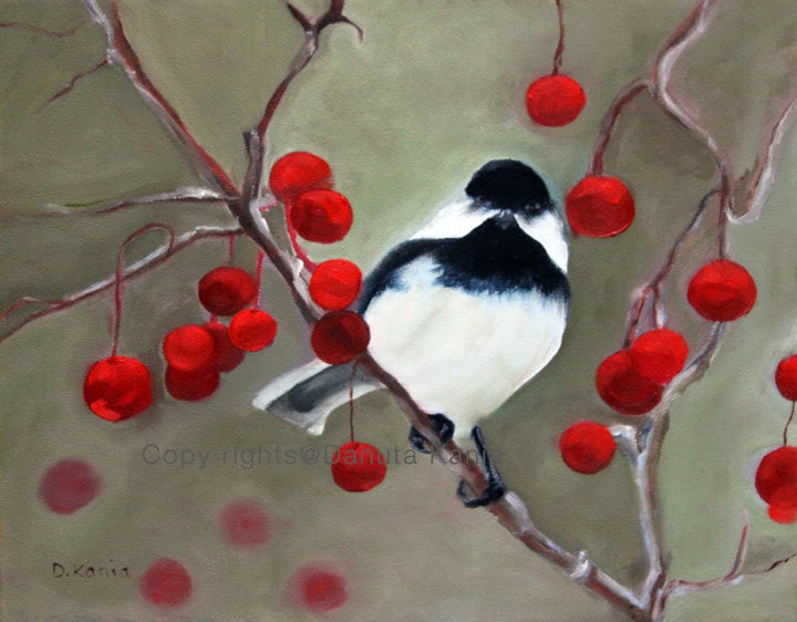 "Original oil painting.  Painting of bird sitting on a branch with red berries. 14"" x 10.5"". Unframed. - AnythingDiscovered"