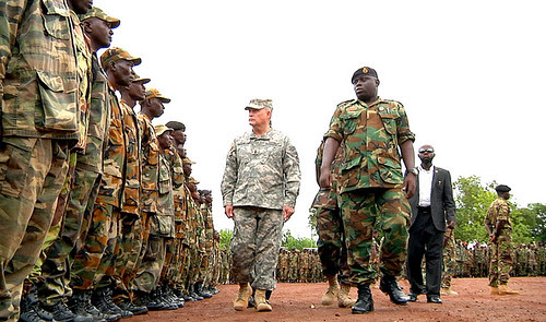 United States Army Africa (USARAF) inspects troops from the Republic of Sierra Leone Armed Forces (RSLAF) in Freetown. AFRICOM trained 1,000 troops from the West African state for deployment to Somalia to participate in AMISOM. by Pan-African News Wire File Photos