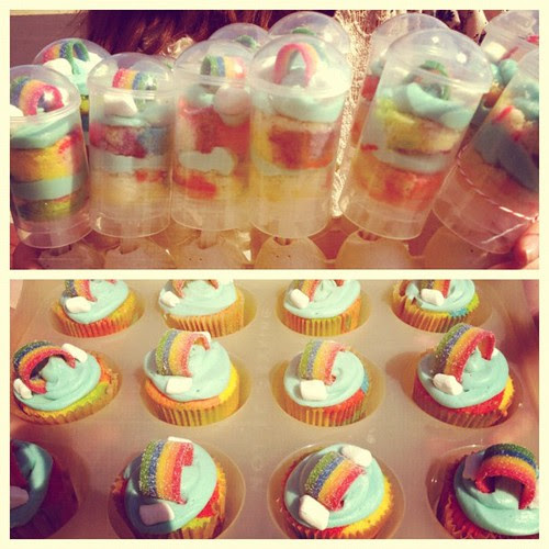 Rainbow cupcakes & cupcake push pops for GS bridging