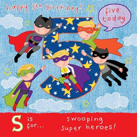 AGE 5 Boys Birthday Card Superheroes TW061