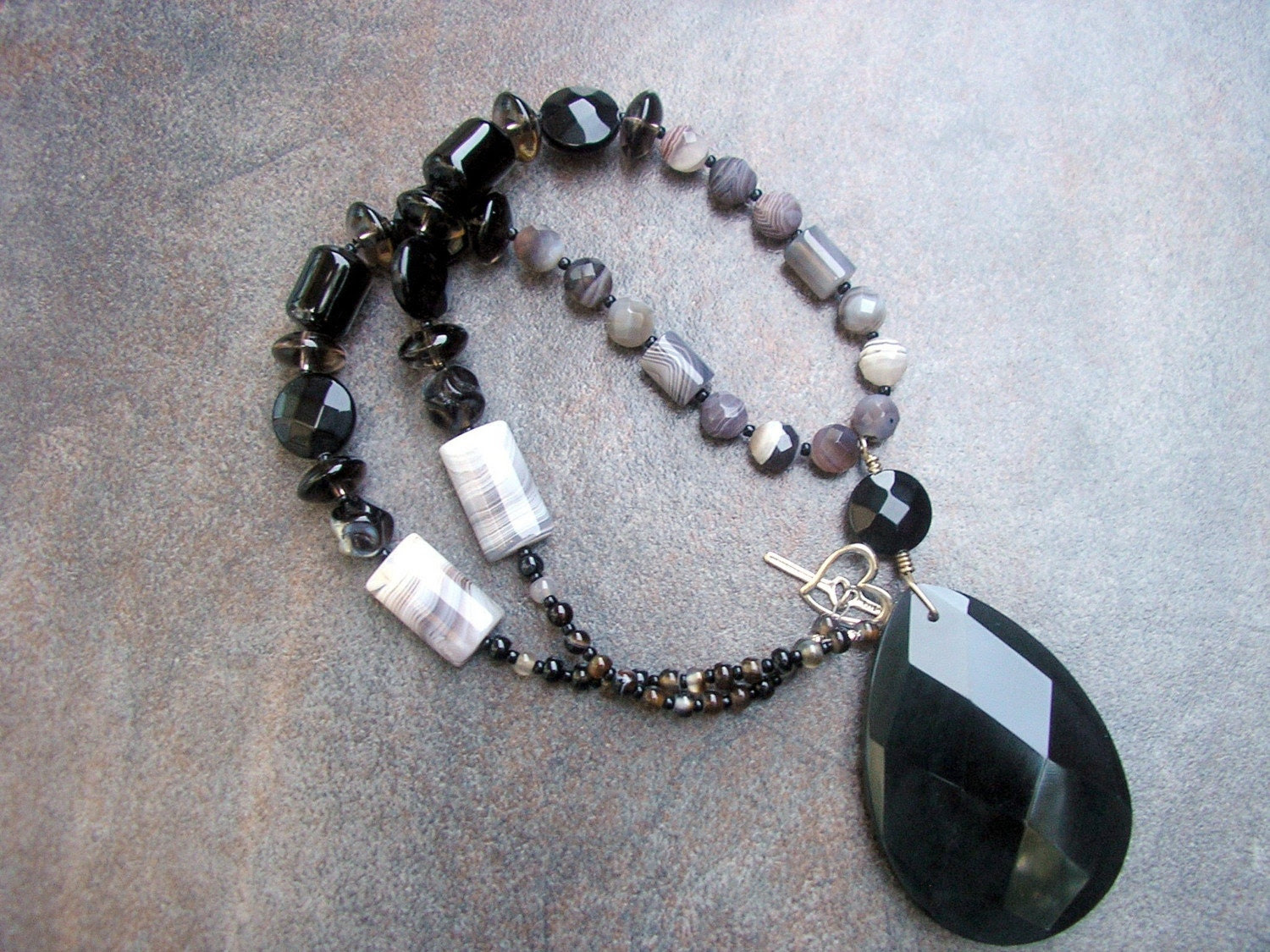Elegant Black Necklace featuring Black Obsidian Pendant