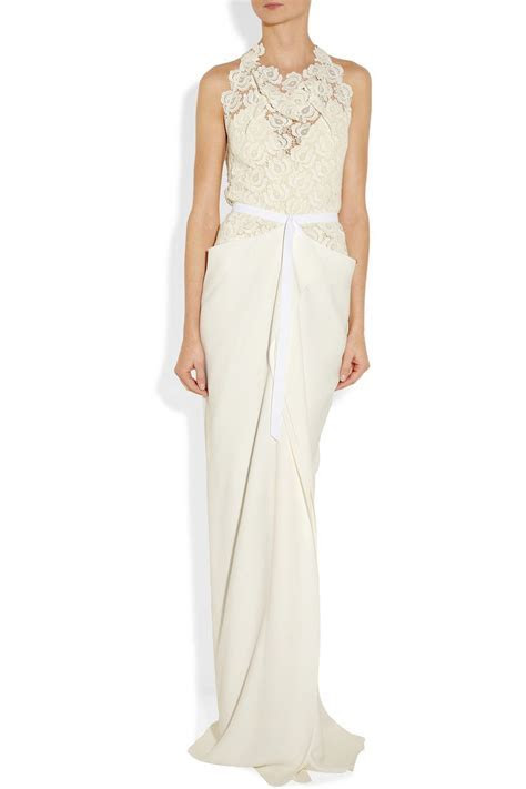 Roland Mouret   Hexam draped lace and crepe gown   NET A
