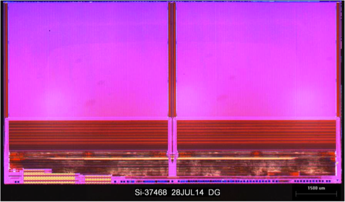 FIGURE 2 – Die photo of Samsung's 86 Gbit 32-layer 2nd generation V-NAND (courtesy Techinsights).