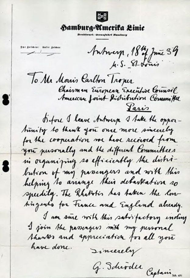 Letter from the captain of the St Louis to the JDC