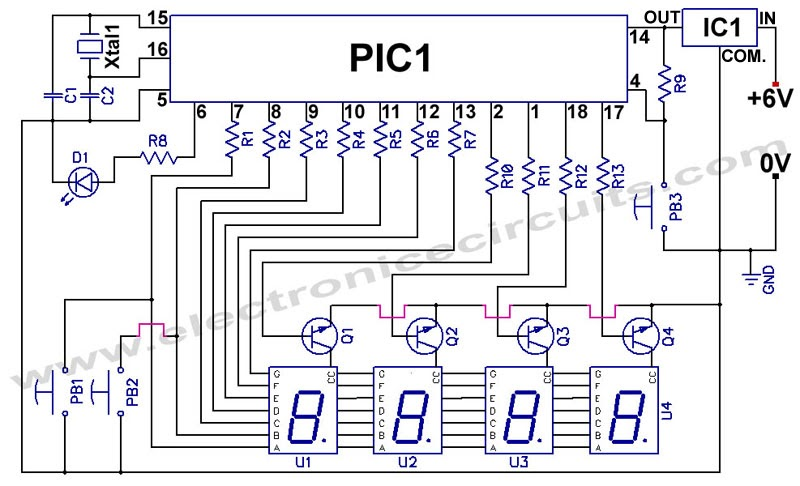 circuit diagram of 7 segment digital clock circuit diagram for 7 segment decoder tapas software: pic 16f84 12 24 hour digital clock circuit ...
