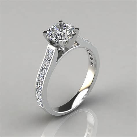 Cushion Cut Channel Set Moissanite Engagement Ring