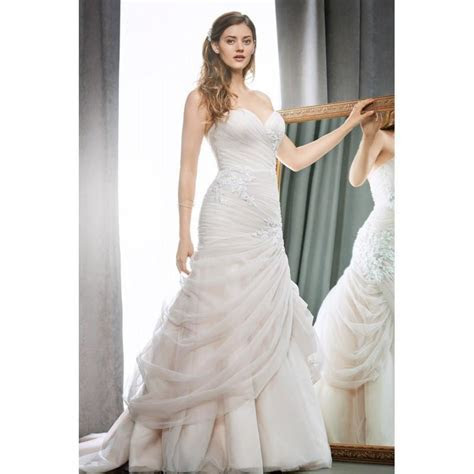 1700 By Kenneth Winston   Ivory Blush Satin Tulle Floor