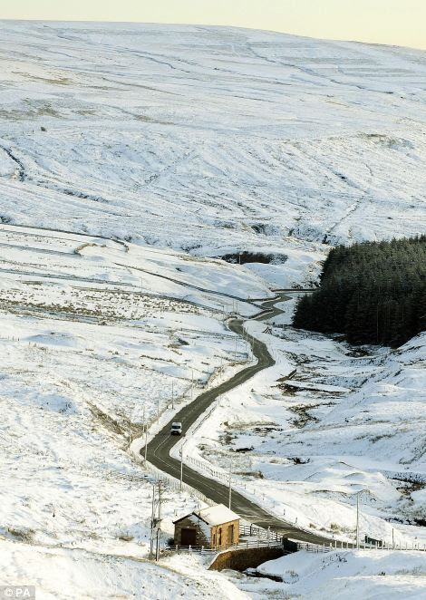 Snow on the A689 in County Durham as forecasters warn the winter weather and freezing temperatures will affect