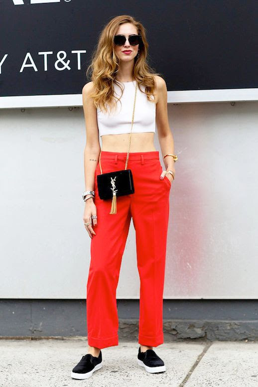 Le Fashion Blog Blogger Street Style Easy Combo Sunglasses White Sleeveless Crop Top Saint Laurent Crossbody Bag Red Pants Black Slip On Sneakers Nyfw Via Popsugar