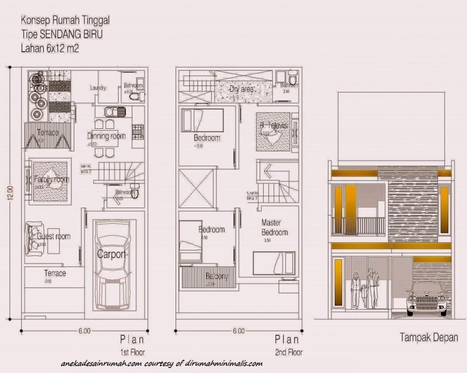 denah pembangian ruangan rumah 2 lantai minimalis 4 SI