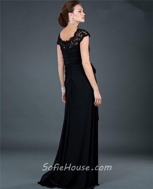 Long black lace evening dresses