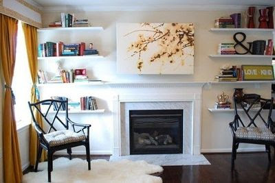 Canvas Over Tv Over Fireplace Shelves On Both Sides Of For