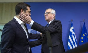 """Greek Prime Minister Alexis Tsipras (L) is welcomed by European Commission President Jean-Claude Juncker for a meeting ahead of a Eurozone emergency summit on Greece in Brussels, Belgium June 22, 2015. The European Union welcomed new proposals from Tsipras as a """"good basis for progress"""" at talks on Monday where creditors want 11th-hour concessions to haul Athens back from the brink of bankruptcy. REUTERS/Yves Herman"""