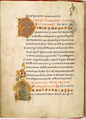 illuminated letters in 10th century monastery manuscript