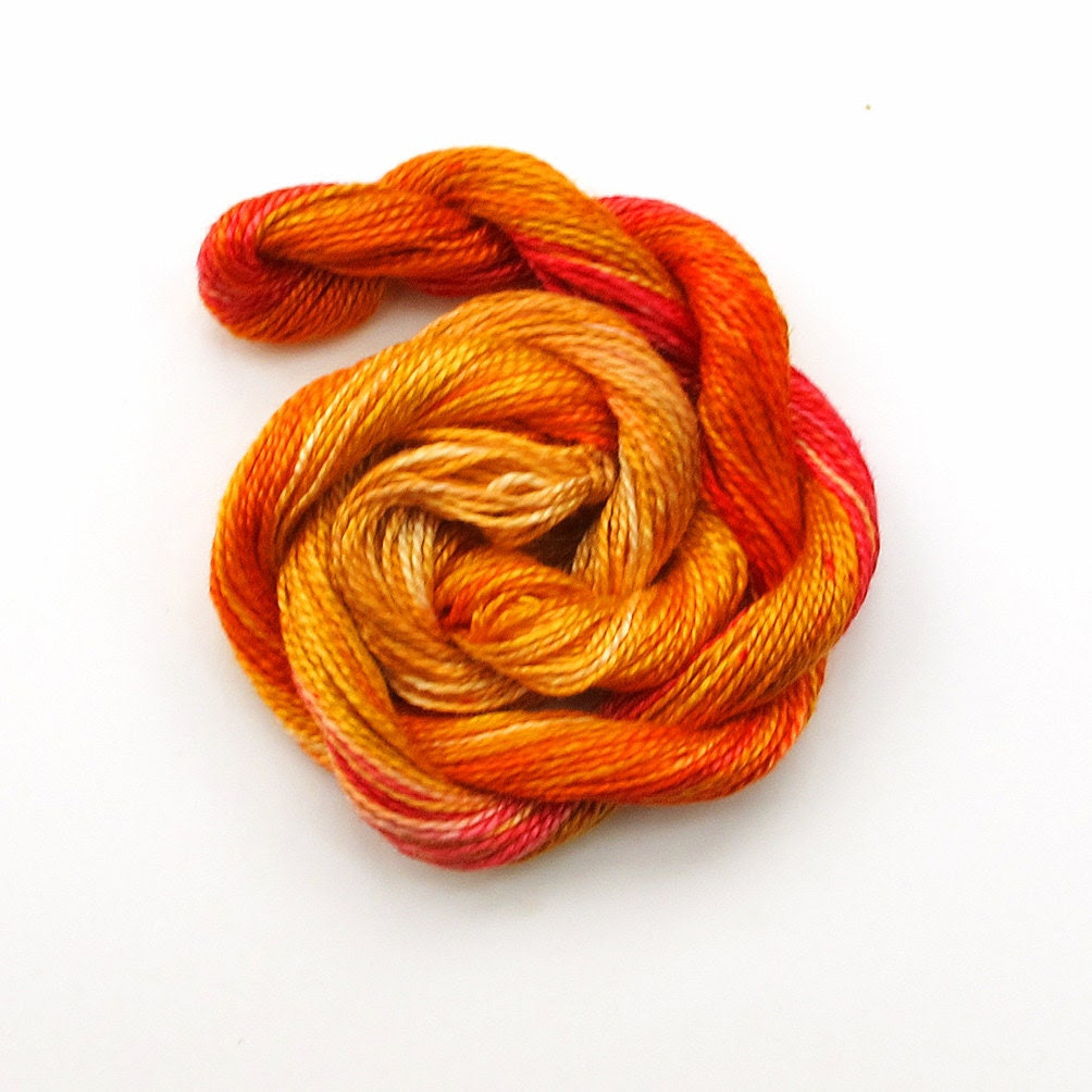 Hand dyed cotton perle 8 embroidery yarn, 30m skein - dark golden yellow, bright orange, red, light brown - therainbowgirl