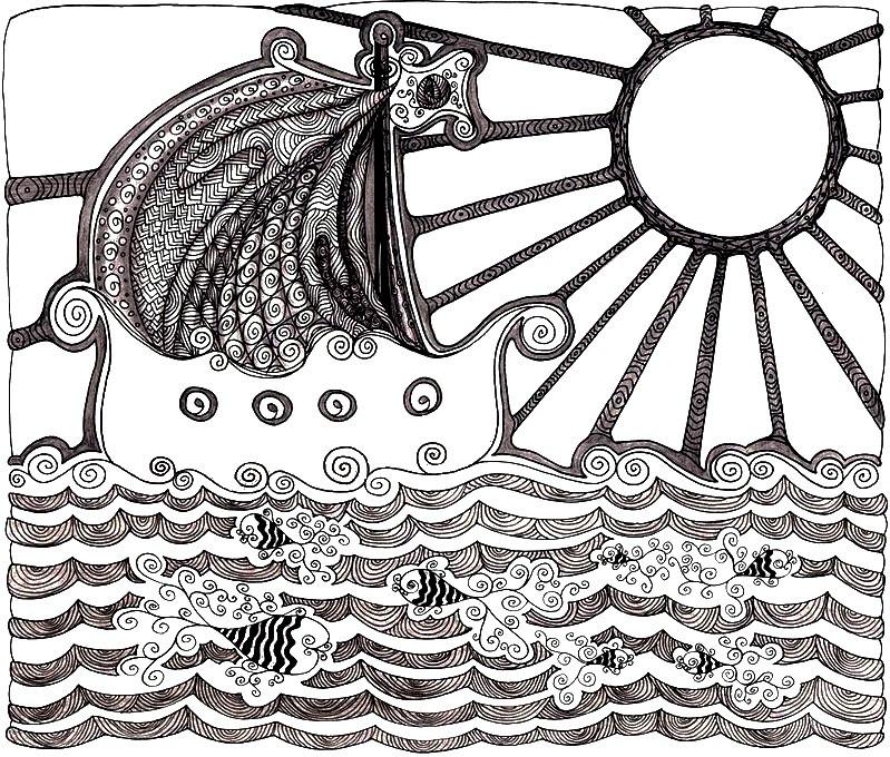 Dibujo Para Colorear Relajante Mar Barco 1