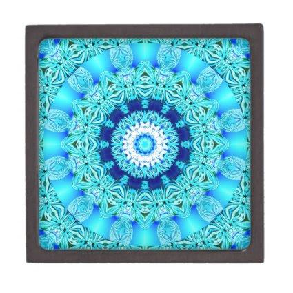Blue Ice Angel Ring, Abstract Mandala Premium Keepsake Box