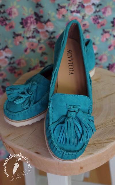 marchewkowa, blog, moda, turquoise moccasins, SCA'VIOLA, SCAVIOLA, retro shoes, loafers, leather, buty, mokasyny, skórzane, 50s style, styl lat 50s