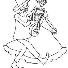 Dibujos Para Colorear Catrina Y Un Esqueleto Bailando Eshellokidscom