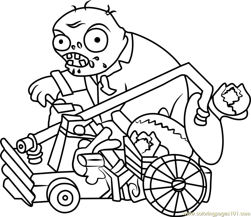 Catapult Zombie Coloring Page - Free Plants vs. Zombies ...
