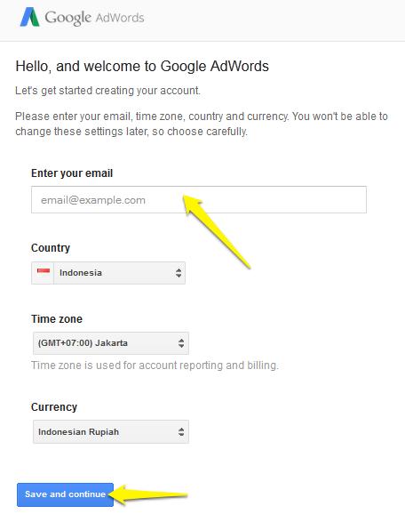 Membuat akun google adwords